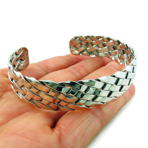 Large 925 Sterling Taxco Silver Woven Bracelet Cuff in a Gift Box