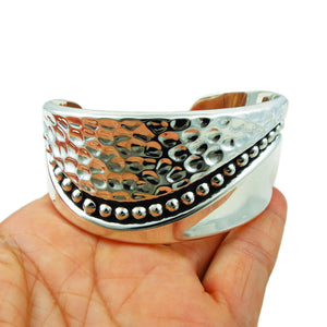 Large 925 Sterling Silver Textured and Polished Bracelet Cuff Gift Boxed