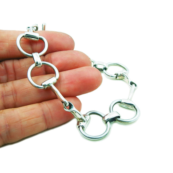 Horse Snaffle Bit 925 Sterling Silver Bracelet Gift Boxed