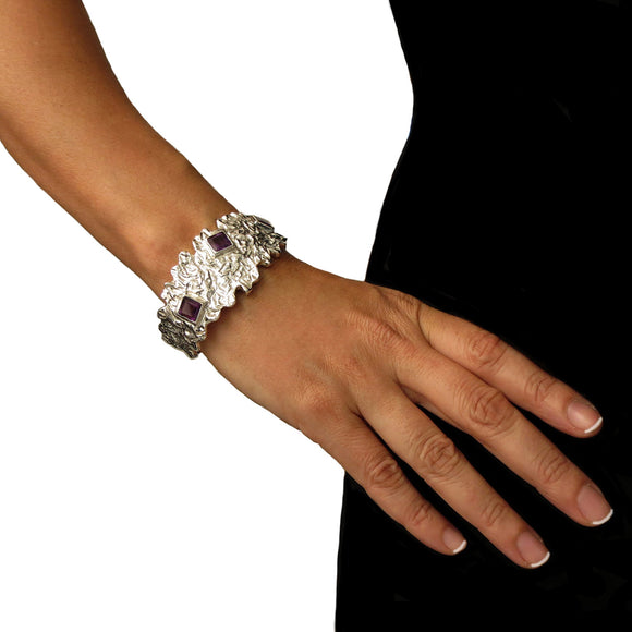 Hallmarked Modernist 925 Sterling Silver and Amethyst Gemstone Bracelet Cuff