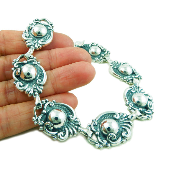 925 Sterling Taxco Silver Designer Scroll and Bead Bracelet Gift Boxed
