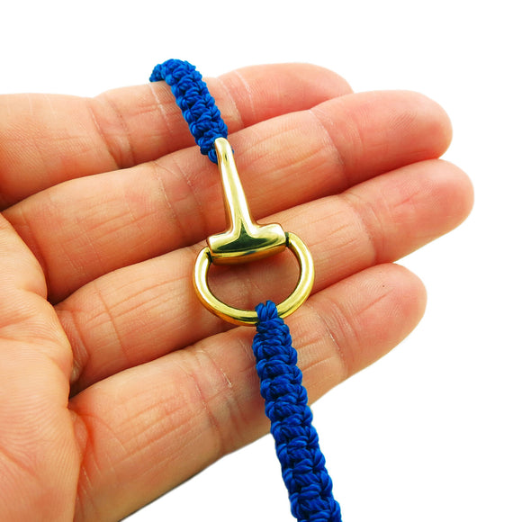 Horsebit Snaffle Solid Brass Horse Tack and Blue Cord Bracelet Gift Boxed
