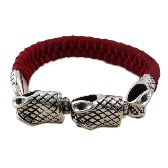925 Sterling Silver and Red Leather Triple Snake Bracelet Cuff