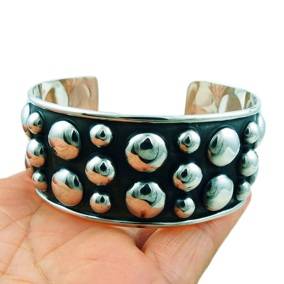 Large Hallmarked Modernist 925 Sterling Silver Ball Bead Bracelet Cuff Gift Boxed