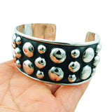 Large Hallmarked Heavy 925 Sterling Silver Ball Bead Bracelet Cuff Gift Boxed