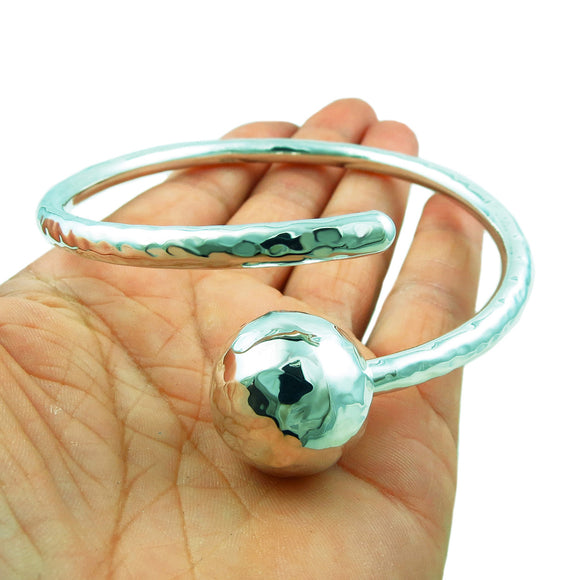Large 925 Sterling Silver Spiral and Ball Bead Bracelet Cuff