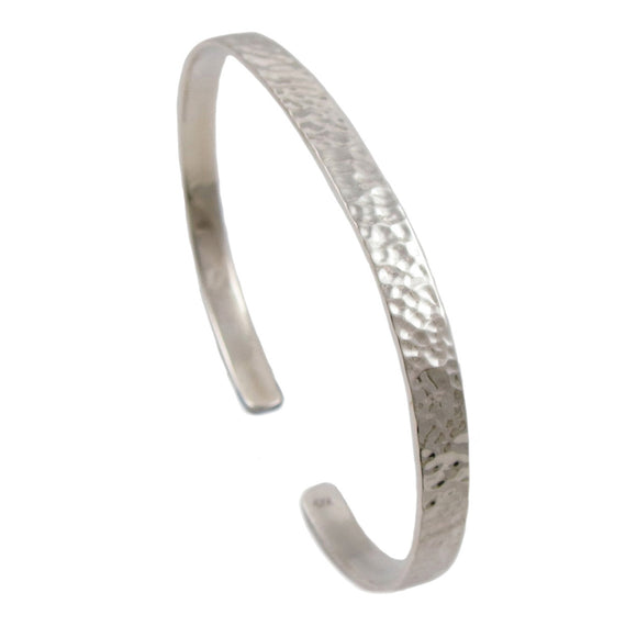 Large 925 Sterling Silver Cuff Hammered Bracelet