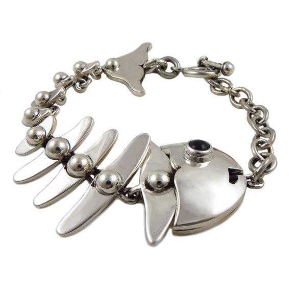 Fish Skeleton 925 Sterling Silver Heavy Bracelet
