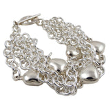 Wide Love Heart Charms and Multi Chain 925 Sterling Silver Bracelet