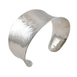 Wide Hallmarked 925 Sterling Silver Hammered Bracelet Cuff
