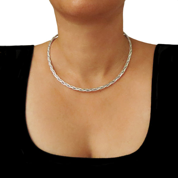Hallmarked Solid 925 Sterling Silver Choker Torque in a Gift Box