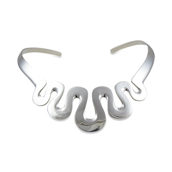Hallmarked Solid Sterling 925 Silver Curved Choker