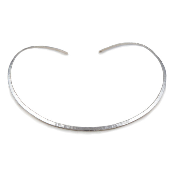 Solid 925 Sterling Silver Hammered Choker Necklace Torc