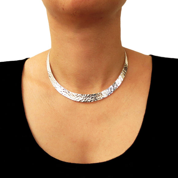 Large Hallmarked 925 Sterling Hammered Silver Choker Torc Gift Boxed