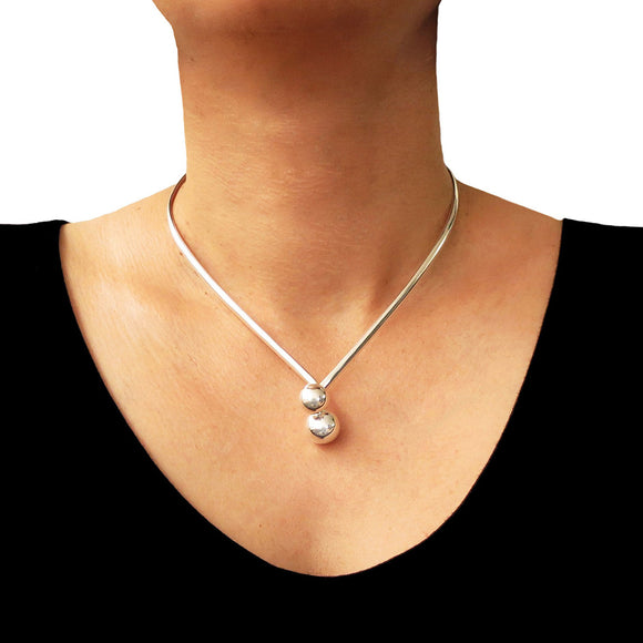 Hallmarked 925 Sterling Silver Ball Bead Choker Necklace