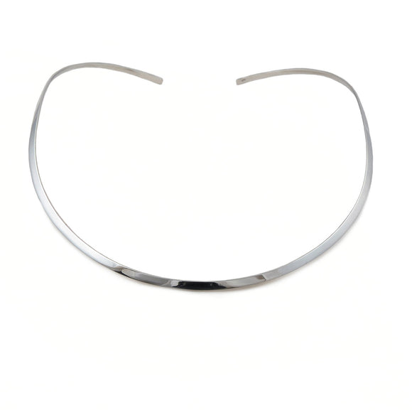 Polished 925 Sterling 925 Silver Large Choker Torc