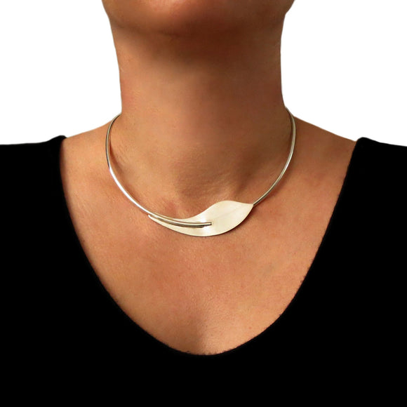 Choker 925 Sterling Silver Calla Lily Flower Necklace