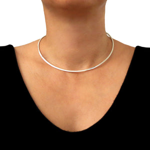 Polished 925 Sterling 925 Silver Choker Torc in a Gift Box