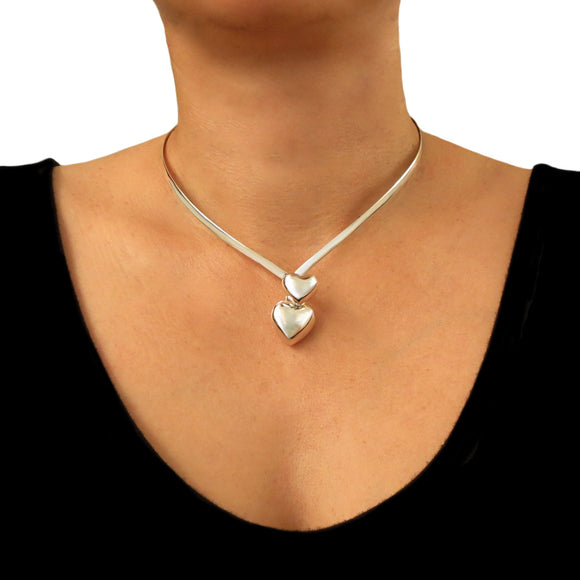 Love Heart Hallmarked 925 Sterling Silver Choker Torc Gift Boxed