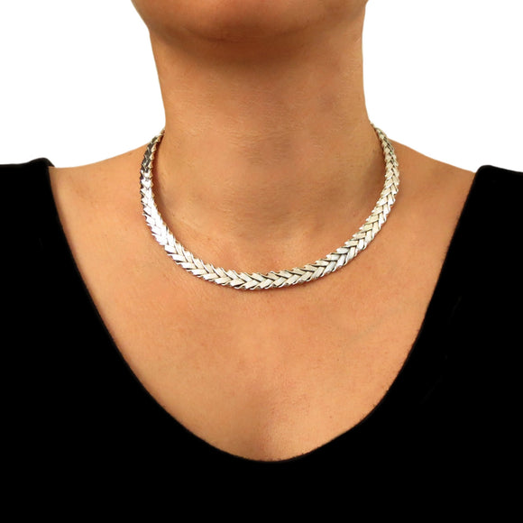 Hallmarked 925 Sterling Silver Woven Choker Torque in a Gift Box