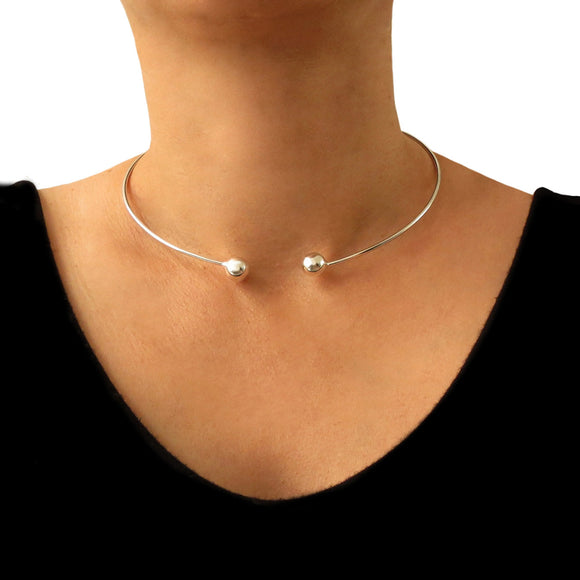 Hallmarked Sterling 925 Silver Ball Bead Choker Torc