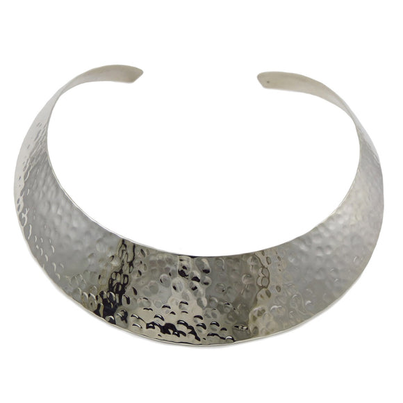 Wide Hallmarked Solid 925 Sterling Silver Hammered Choker