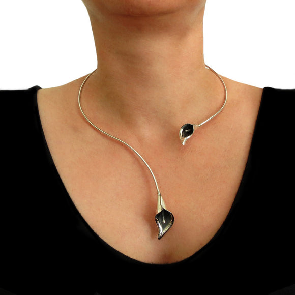Large Calla Lily Flower 925 Sterling Silver Choker Torc