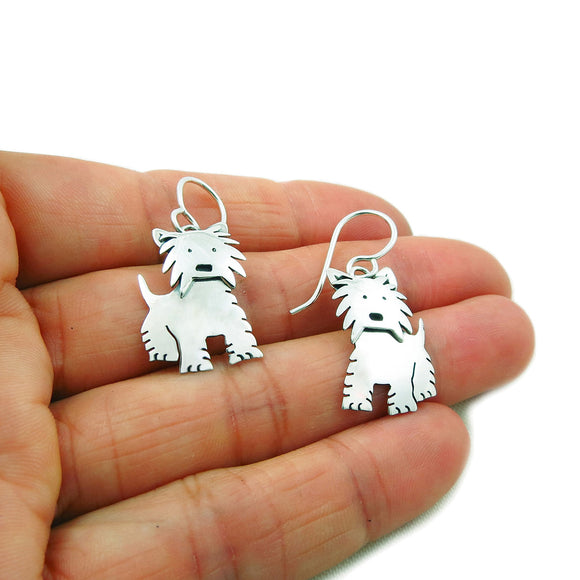 Terrier Dog 925 Sterling Silver Earrings Gift Boxed