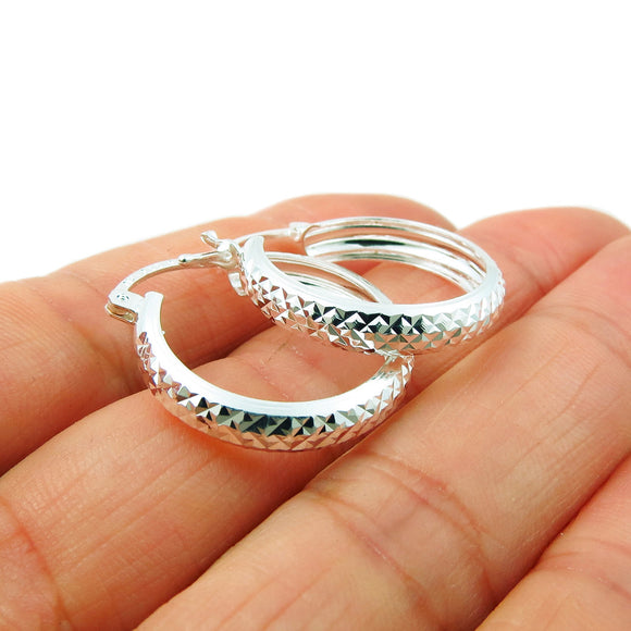 Small 925 Sterling Silver Patterned Hoop Earrings in a Gift Box