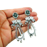 Maria Belen 925 Sterling Taxco Silver Love Bird Chandelier Drop Earrings