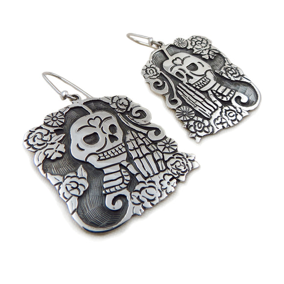 Mexico Day of the Dead 925 Sterling Silver Maria Belen Taxco Earrings