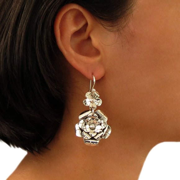 Large Flower 925 Sterling Silver Drop Earrings