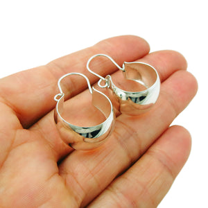 Creole Circle Drop 925 Sterling Silver Earrings