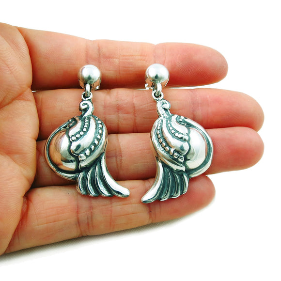 Scroll and Bead 925 Sterling Taxco Silver Drop Earrings