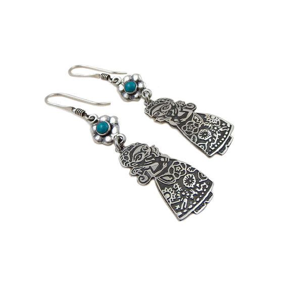 Frida Kahlo 925 Sterling Silver Drop Earrings