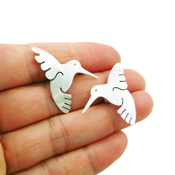 Solid Sterling 925 Silver Hummingbird Earrings in a Gift Box