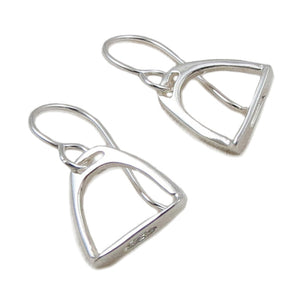 Solid 925 Silver Equestrian Horse Riding Tack Saddle Stirrup Drop Earrings