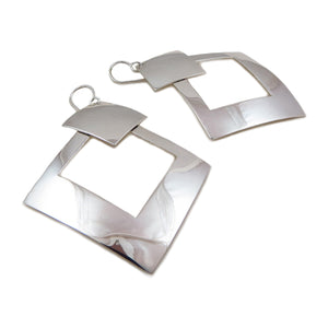 Large Modernist 925 Sterling Silver Square Drop Earrings