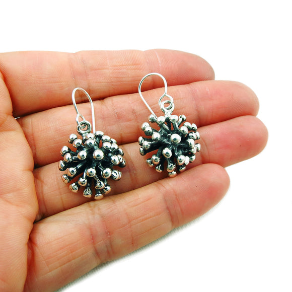 925 Sterling Silver Spiky Ball Drop Earrings Gift Boxed