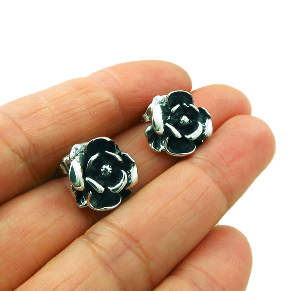 Rose Flower 925 Sterling Silver Earrings Gift Boxed