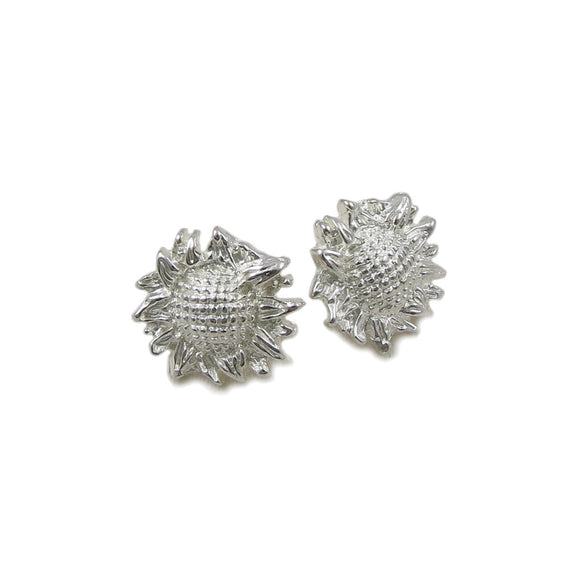 Sunflower Flower 925 Sterling Silver Stud Earrings