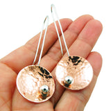 Long Guillermo Arregui Copper and 925 Silver Threader Circle Drop Earrings