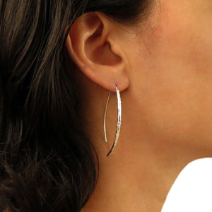 Solid 925 Silver Threader Pull Through Stick Drop Earrings