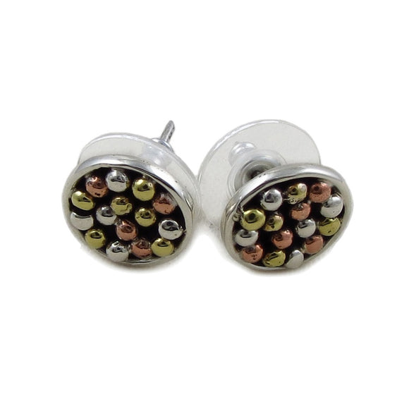 Mixed Metals 925 Silver and Copper Circle Stud Earrings Gift Boxed