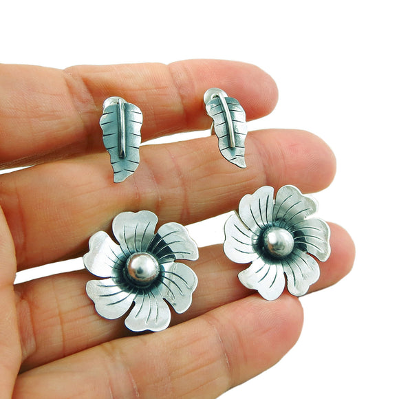 Large 925 Sterling Silver Flower and Leaf Drop Earrings Gift Boxed