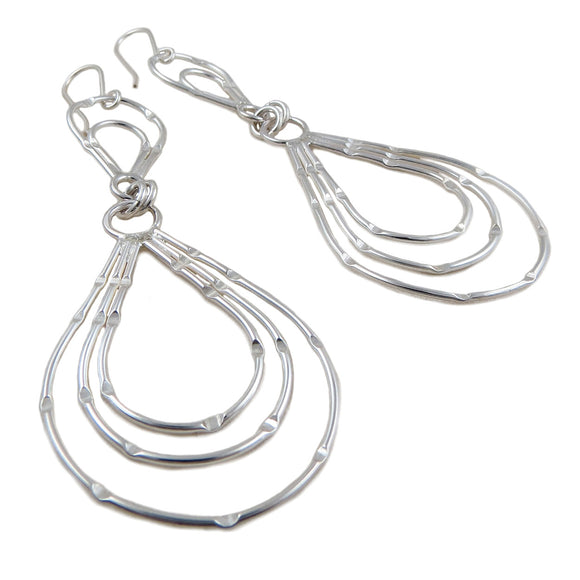 Long 925 Sterling Silver Hoop Drop Earrings Gift Boxed
