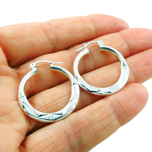 925 Silver Patterned Hoop Earrings