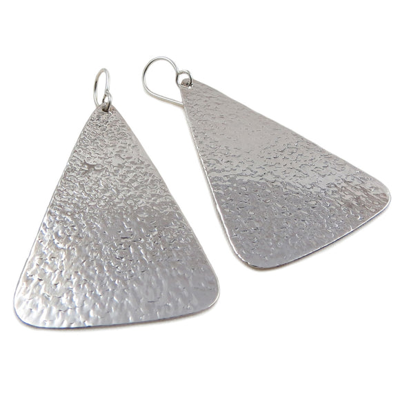 Large Triangle 925 Sterling Silver Hammered Drop Earrings Gift Boxed