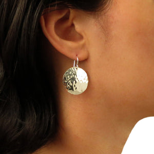 Circle 925 Sterling Silver Hammered Drop Earrings