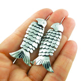 Fish Skeleton Sterling 925 Silver Earrings in a Gift Box